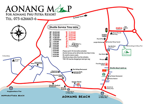 Map Aonang Phu Petra Resort Krabi
